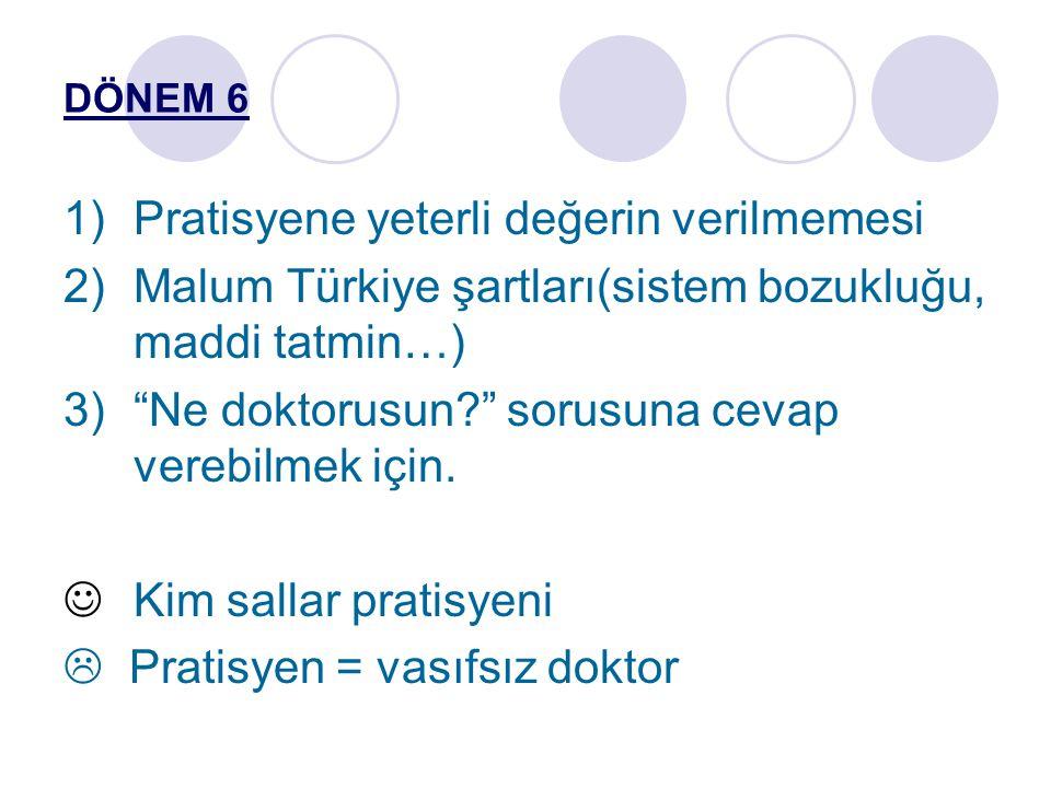 """DÖNEM 6 1)Pratisyene yeterli değerin verilmemesi 2)Malum Türkiye şartları(sistem bozukluğu, maddi tatmin…) 3)""""Ne doktorusun?"""" sorusuna cevap verebilme"""