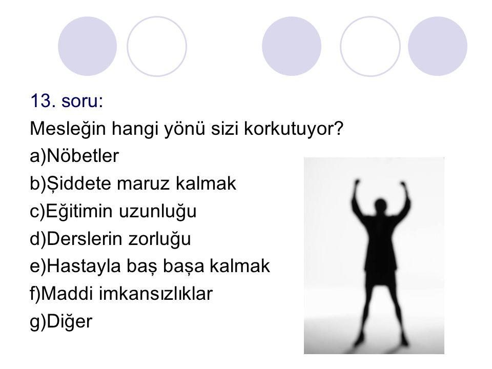 13. soru: Mesleğin hangi yönü sizi korkutuyor? a)Nöbetler b)Şiddete maruz kalmak c)Eğitimin uzunluğu d)Derslerin zorluğu e)Hastayla baş başa kalmak f)