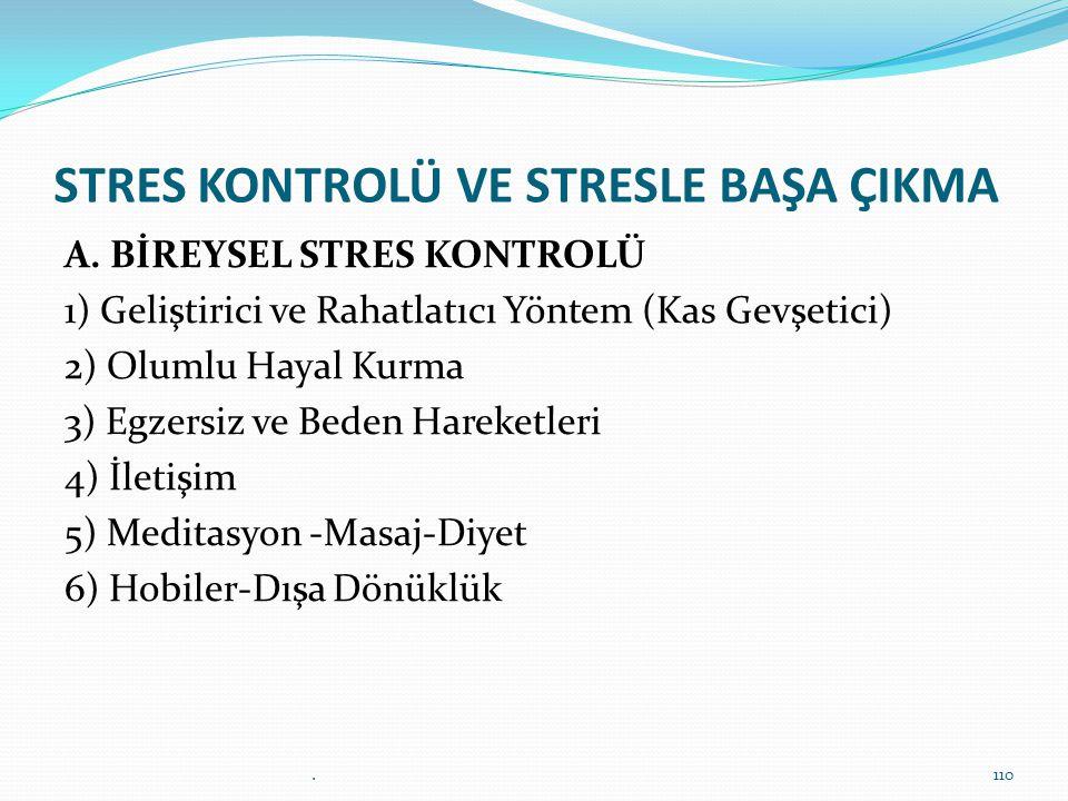 STRES KONTROLÜ VE STRESLE BAŞA ÇIKMA A. BİREYSEL STRES KONTROLÜ 1) Geliştirici ve Rahatlatıcı Yöntem (Kas Gevşetici) 2) Olumlu Hayal Kurma 3) Egzersiz