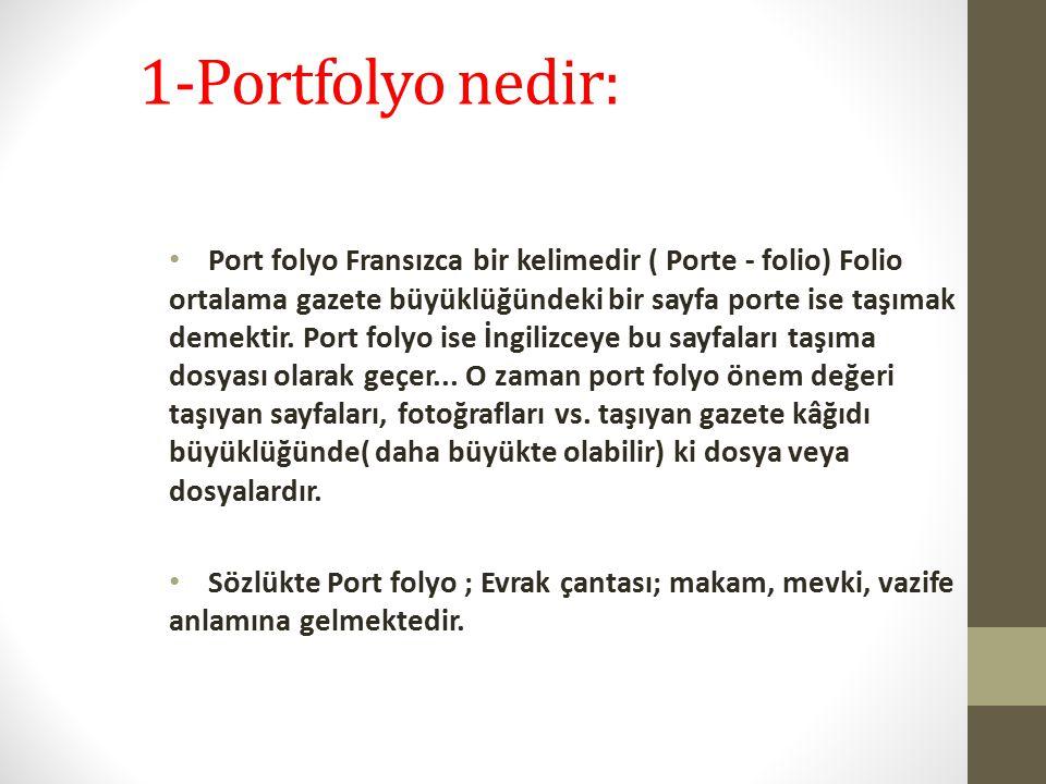 1-Portfolyo nedir: Port folyo Fransızca bir kelimedir ( Porte - folio) Folio ortalama gazete büyüklüğündeki bir sayfa porte ise taşımak demektir. Port