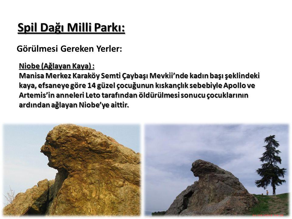 Spil Dağı Milli Parkı: Görülmesi Gereken Yerler: Niobe (Ağlayan Kaya) : Manisa Merkez Karaköy Semti Çaybaşı Mevkii'nde kadın başı şeklindeki kaya, efs