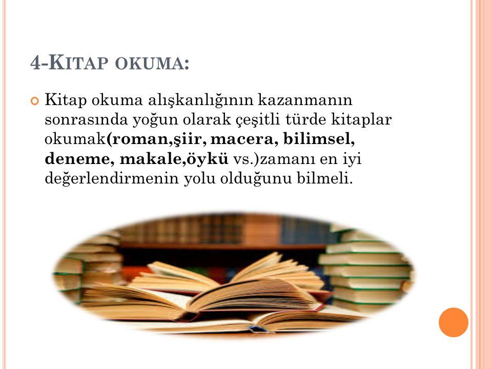 4-K ITAP OKUMA : Kitap okuma alışkanlığının kazanmanın sonrasında yoğun olarak çeşitli türde kitaplar okumak (roman,şiir, macera, bilimsel, deneme, makale,öykü vs.)zamanı en iyi değerlendirmenin yolu olduğunu bilmeli.