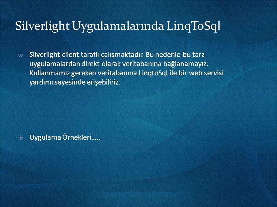 Silverlight Uygulamalarında LinqToSql  Silverlight client taraflı çalışmaktadır.