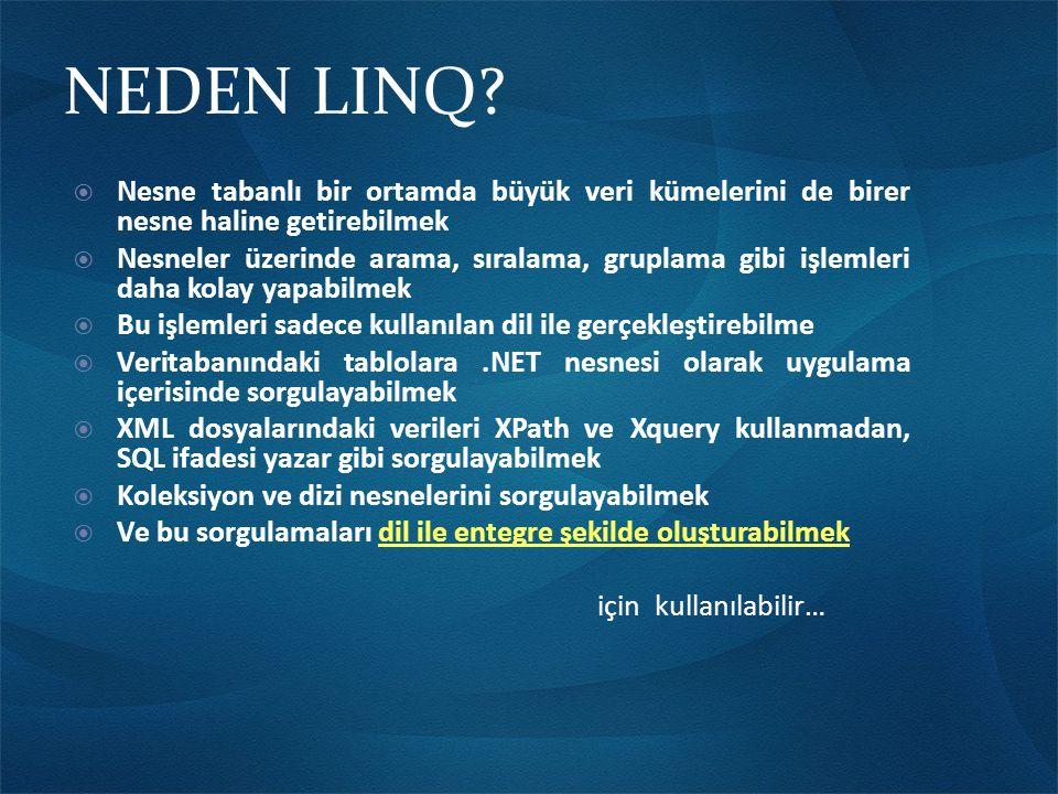 NEDEN LINQ.