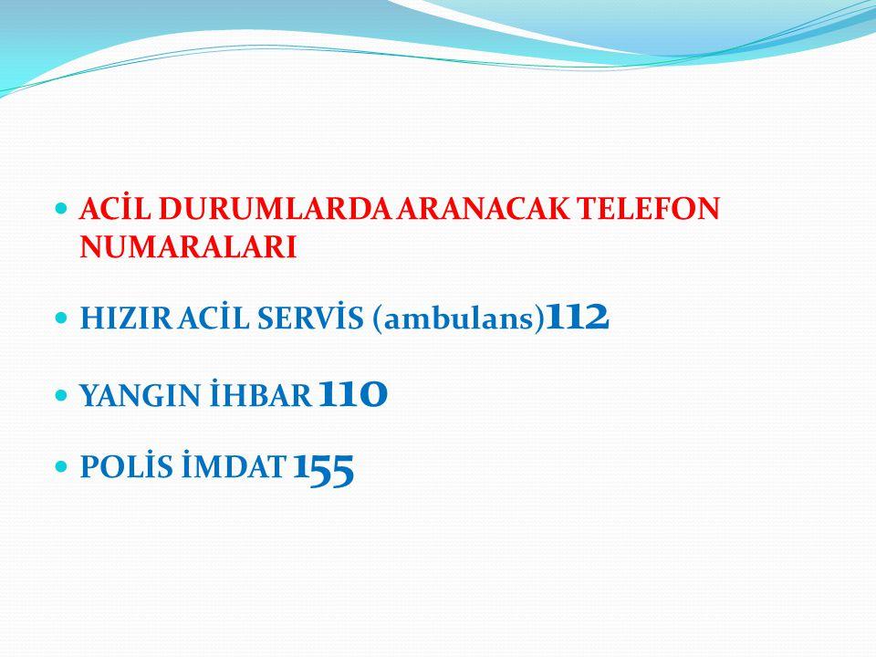 ACİL DURUMLARDA ARANACAK TELEFON NUMARALARI HIZIR ACİL SERVİS (ambulans) 112 YANGIN İHBAR 110 POLİS İMDAT 155