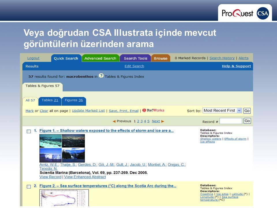 Proprietary and Confidential ProQuest Information & Learning Veya doğrudan CSA Illustrata içinde mevcut görüntülerin üzerinden arama