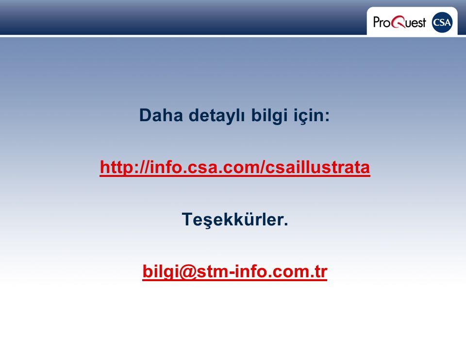 Proprietary and Confidential ProQuest Information & Learning Daha detaylı bilgi için: http://info.csa.com/csaillustrata Teşekkürler.