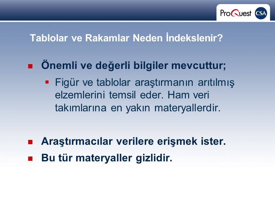 Proprietary and Confidential ProQuest Information & Learning Tablolar ve Rakamlar Neden İndekslenir.