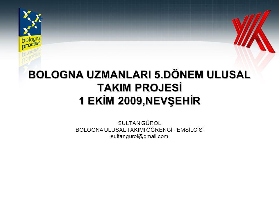 BOLOGNA UZMANLARI 5.DÖNEM ULUSAL TAKIM PROJESİ 1 EKİM 2009,NEVŞEHİR SULTAN GÜROL BOLOGNA ULUSAL TAKIMI ÖĞRENCİ TEMSİLCİSİ sultangurol@gmail.com