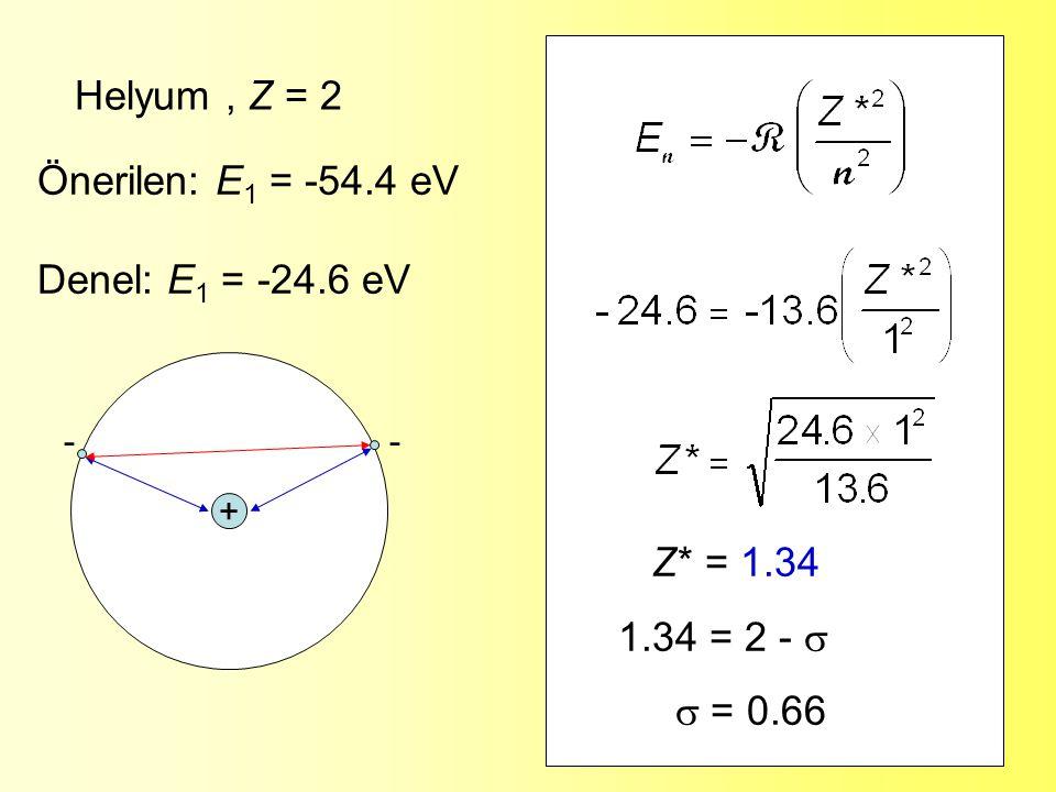 6 Lityum, Z = 3 Önerilen: E 1 = -30.6 eV Denel: E 1 = -5.4 eV Z* = 1.26 1.26 = 3 -   = 1.74 + - - -