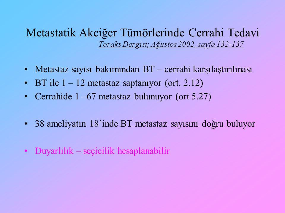 Metastaz sayısı bakımından BT – cerrahi karşılaştırılması BT ile 1 – 12 metastaz saptanıyor (ort. 2.12) Cerrahide 1 –67 metastaz bulunuyor (ort 5.27)