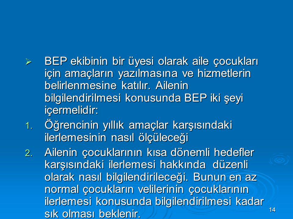14  BEP ekibinin bir üyesi olarak aile çocukları için amaçların yazılmasına ve hizmetlerin belirlenmesine katılır.