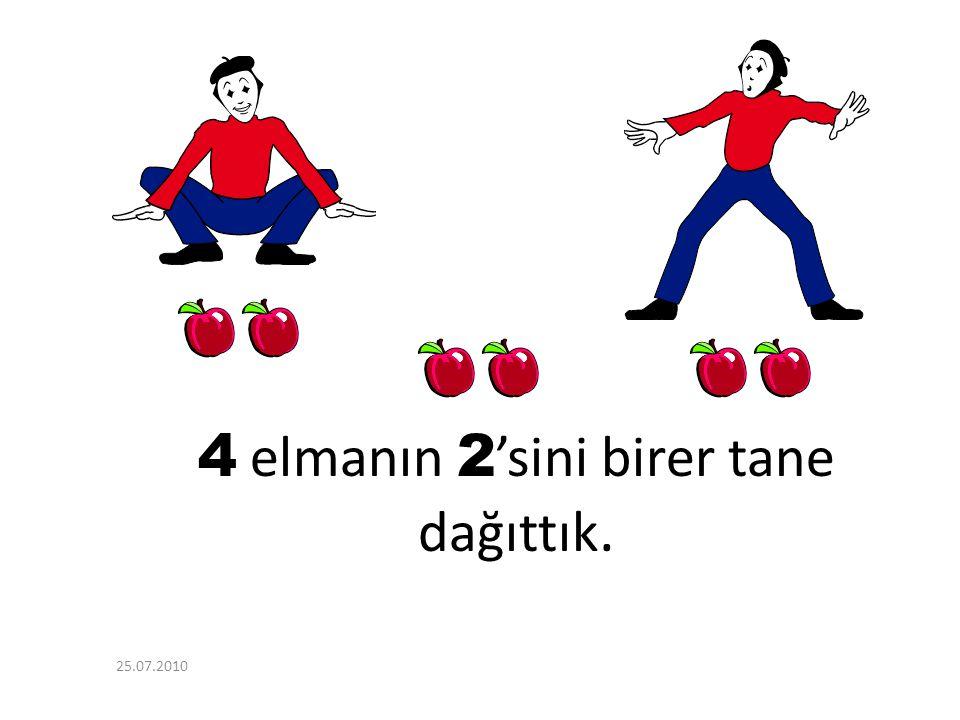 4 Elma kaldı. 6 - 2 = 4 25.07.2010
