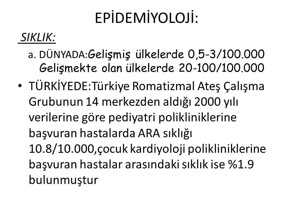 EPİDEMİYOLOJİ: SIKLIK: a.DÜNYADA: Gelişmiş ülkelerde 0,5-3/100.000 Gelişmekte olan ülkelerde 20-100/100.000 TÜRKİYEDE:Türkiye Romatizmal Ateş Çalışma Grubunun 14 merkezden aldığı 2000 yılı verilerine göre pediyatri polikliniklerine başvuran hastalarda ARA sıklığı 10.8/10.000,çocuk kardiyoloji polikliniklerine başvuran hastalar arasındaki sıklık ise %1.9 bulunmuştur