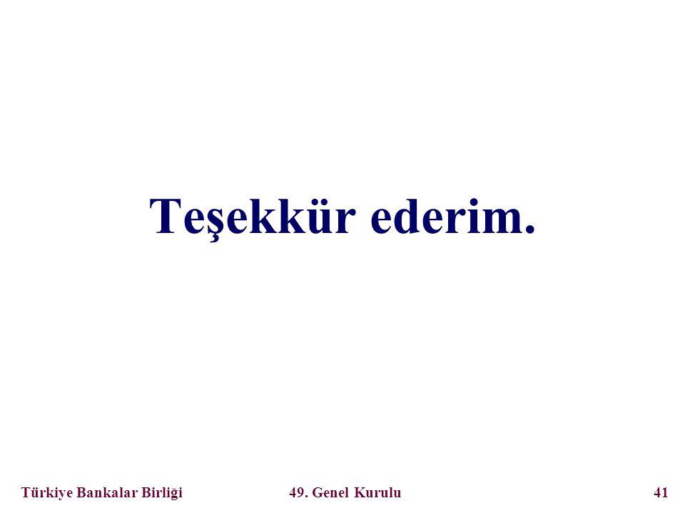 Türkiye Bankalar Birliği 49. Genel Kurulu 41 Teşekkür ederim.