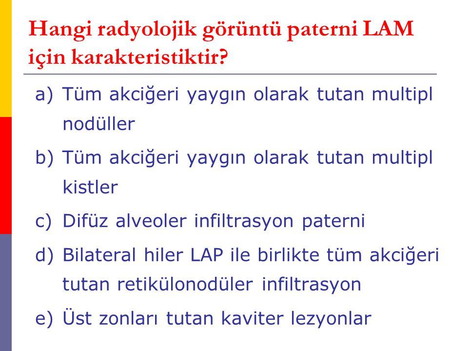 Hangi radyolojik görüntü paterni LAM için karakteristiktir? a)Tüm akciğeri yaygın olarak tutan multipl nodüller b)Tüm akciğeri yaygın olarak tutan mul