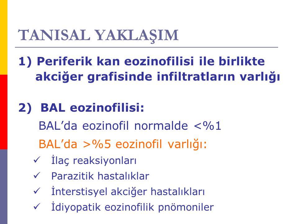 TANISAL YAKLAŞIM 1) Periferik kan eozinofilisi ile birlikte akciğer grafisinde infiltratların varlığı 2) BAL eozinofilisi: BAL'da eozinofil normalde <