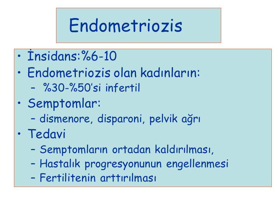Endometriozis İnsidans:%6-10 Endometriozis olan kadınların: – %30-%50'si infertil Semptomlar: –dismenore, disparoni, pelvik ağrı Tedavi –Semptomların