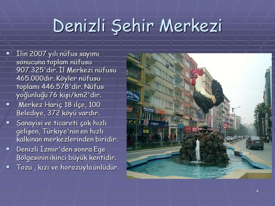 4 Denizli Şehir Merkezi  İlin 2007 yılı nüfus sayımı sonucuna toplam nüfusu 907.325 dir.