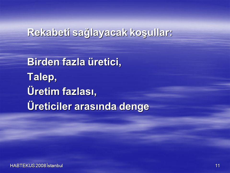 HABTEKUS 2008 İstanbul 11 Rekabeti sağlayacak koşullar: Birden fazla üretici, Talep, Üretim fazlası, Üreticiler arasında denge