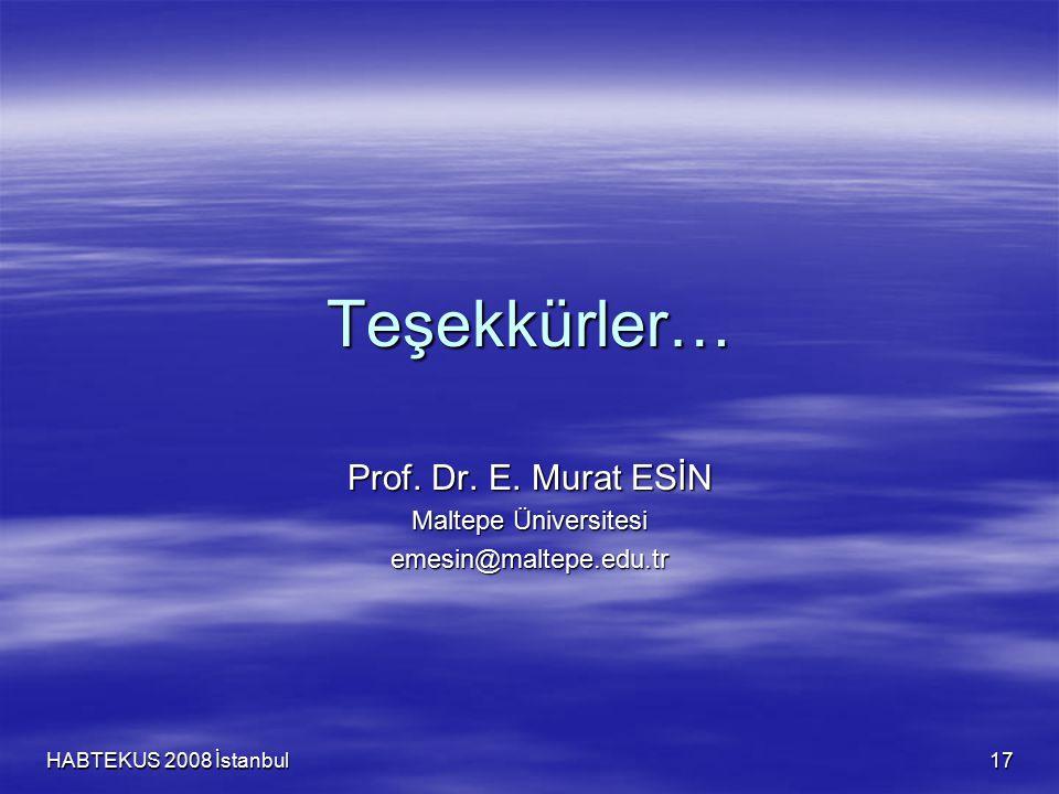 HABTEKUS 2008 İstanbul 17 Teşekkürler… Prof. Dr. E. Murat ESİN Maltepe Üniversitesi emesin@maltepe.edu.tr