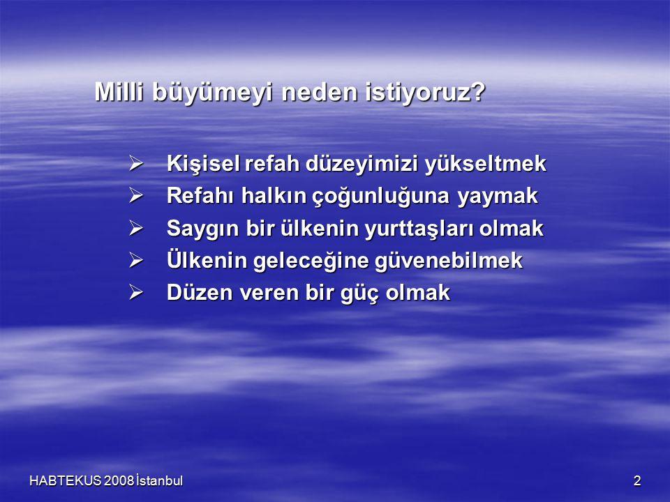 HABTEKUS 2008 İstanbul 2 Milli büyümeyi neden istiyoruz?  Kişisel refah düzeyimizi yükseltmek  Refahı halkın çoğunluğuna yaymak  Saygın bir ülkenin