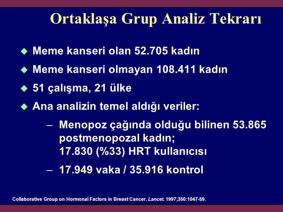 Ortaklaşa Grup Analiz Tekrarı  Meme kanseri olan 52.705 kadın  Meme kanseri olmayan 108.411 kadın  51 çalışma, 21 ülke  Ana analizin temel aldığı