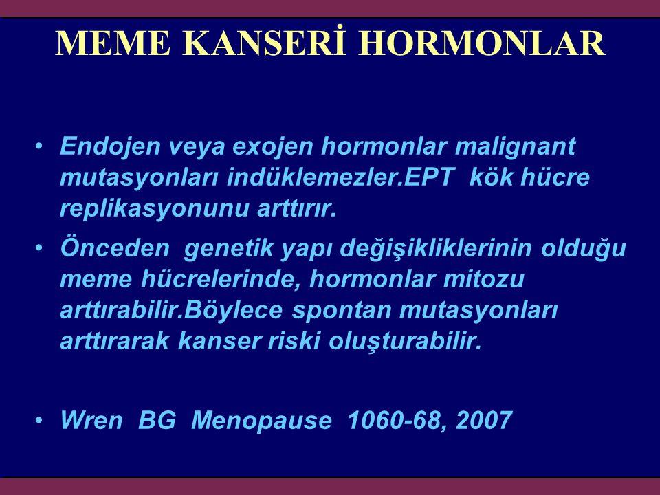 MEME KANSERİ HORMONLAR Endojen veya exojen hormonlar malignant mutasyonları indüklemezler.EPT kök hücre replikasyonunu arttırır. Önceden genetik yapı