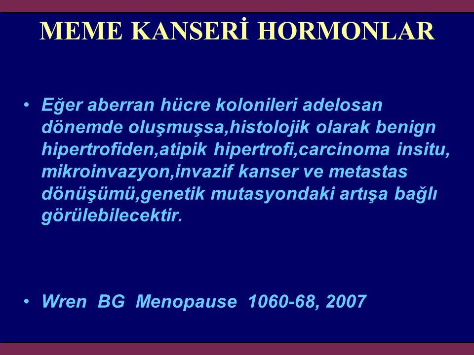 MEME KANSERİ HORMONLAR Eğer aberran hücre kolonileri adelosan dönemde oluşmuşsa,histolojik olarak benign hipertrofiden,atipik hipertrofi,carcinoma ins