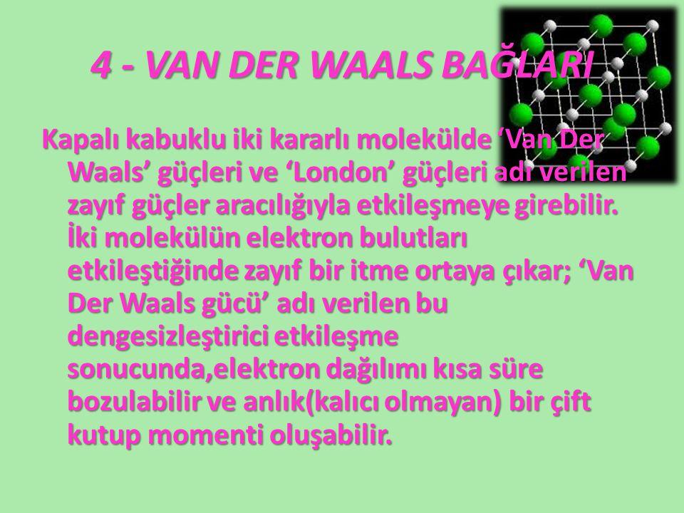 4 - VAN DER WAALS BAĞLARI Kapalı kabuklu iki kararlı molekülde 'Van Der Waals' güçleri ve 'London' güçleri adı verilen zayıf güçler aracılığıyla etkil