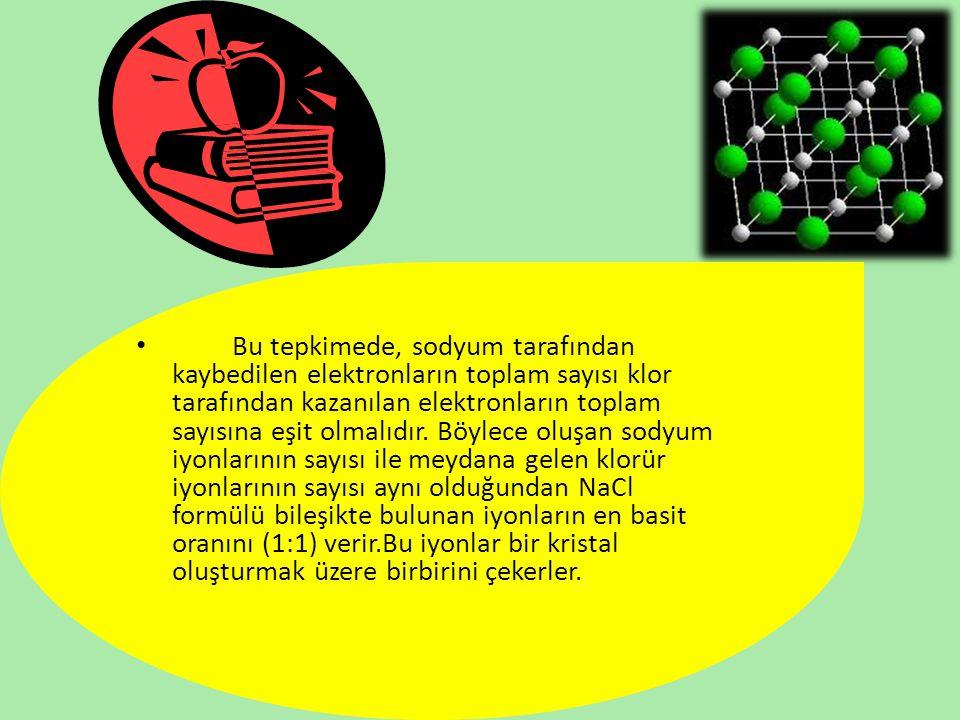 Bu tepkimede, sodyum tarafından kaybedilen elektronların toplam sayısı klor tarafından kazanılan elektronların toplam sayısına eşit olmalıdır. Böylece