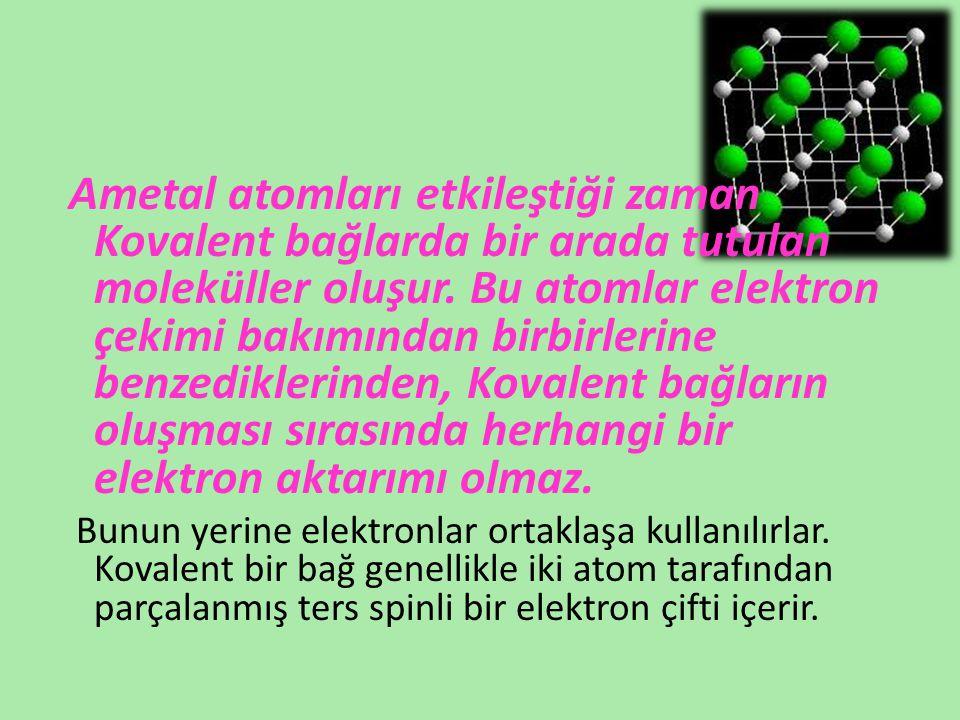Kovalent bağlar yapısına göre ikiye ayrılır: Kovalent bağlar yapısına göre ikiye ayrılır: 2.a -Apolar Kovalent Bağ: 2.a -Apolar Kovalent Bağ: Aynı cins iki ametal atomunun birleşmesiyle oluşur.