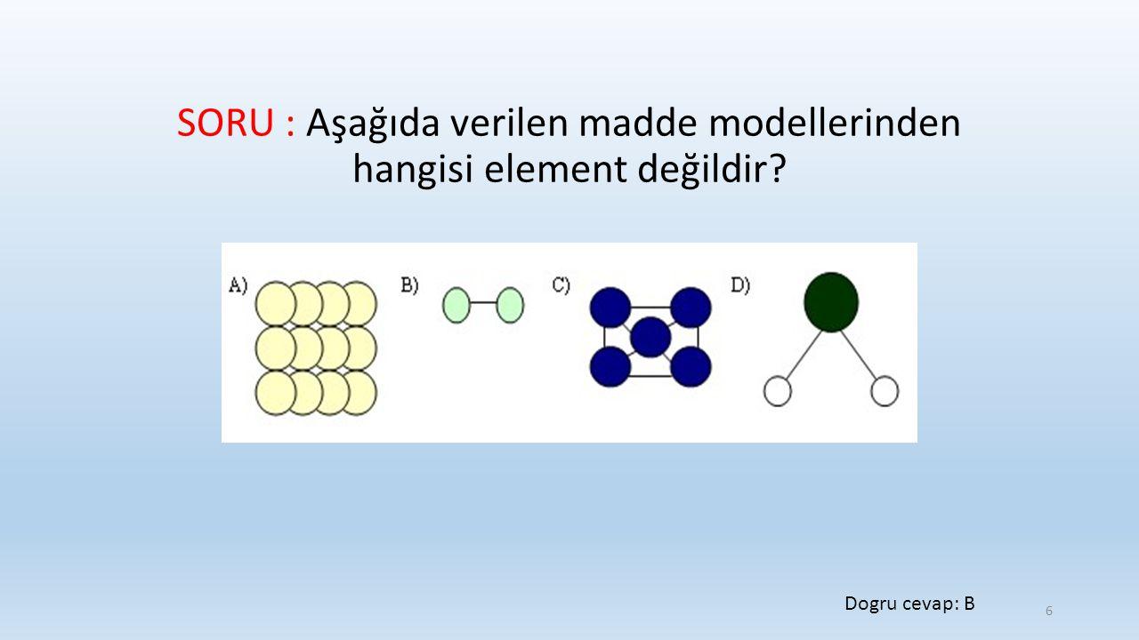 SORU : Aşağıda verilen madde modellerinden hangisi element değildir? Dogru cevap: B 6