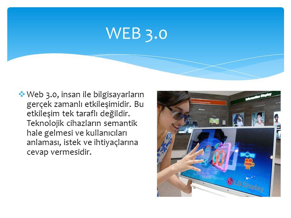 WEB 3.0  Web 3.0, insan ile bilgisayarların gerçek zamanlı etkileşimidir.