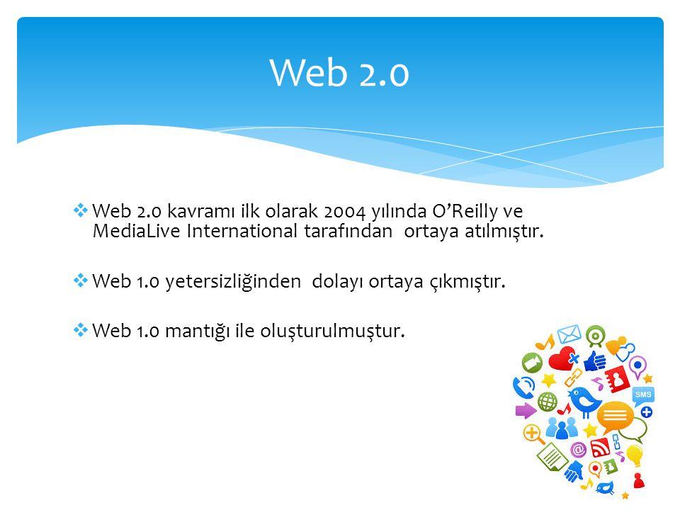  Web 2.0 kavramı ilk olarak 2004 yılında O'Reilly ve MediaLive International tarafından ortaya atılmıştır.