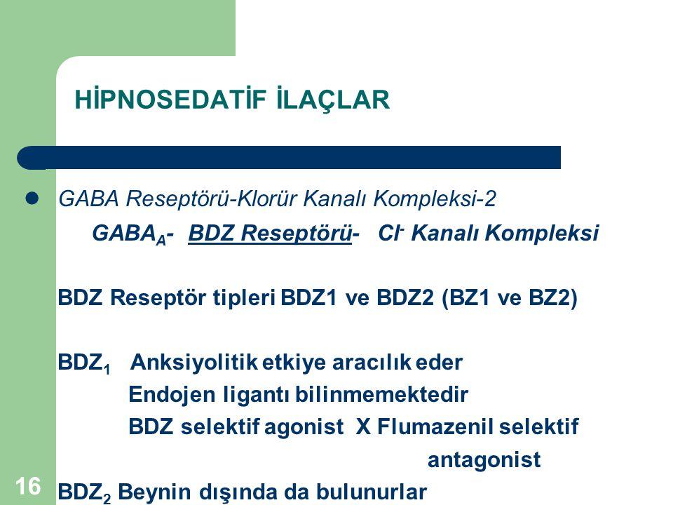16 HİPNOSEDATİF İLAÇLAR GABA Reseptörü-Klorür Kanalı Kompleksi-2 GABA A - BDZ Reseptörü- Cl - Kanalı Kompleksi BDZ Reseptör tipleri BDZ1 ve BDZ2 (BZ1