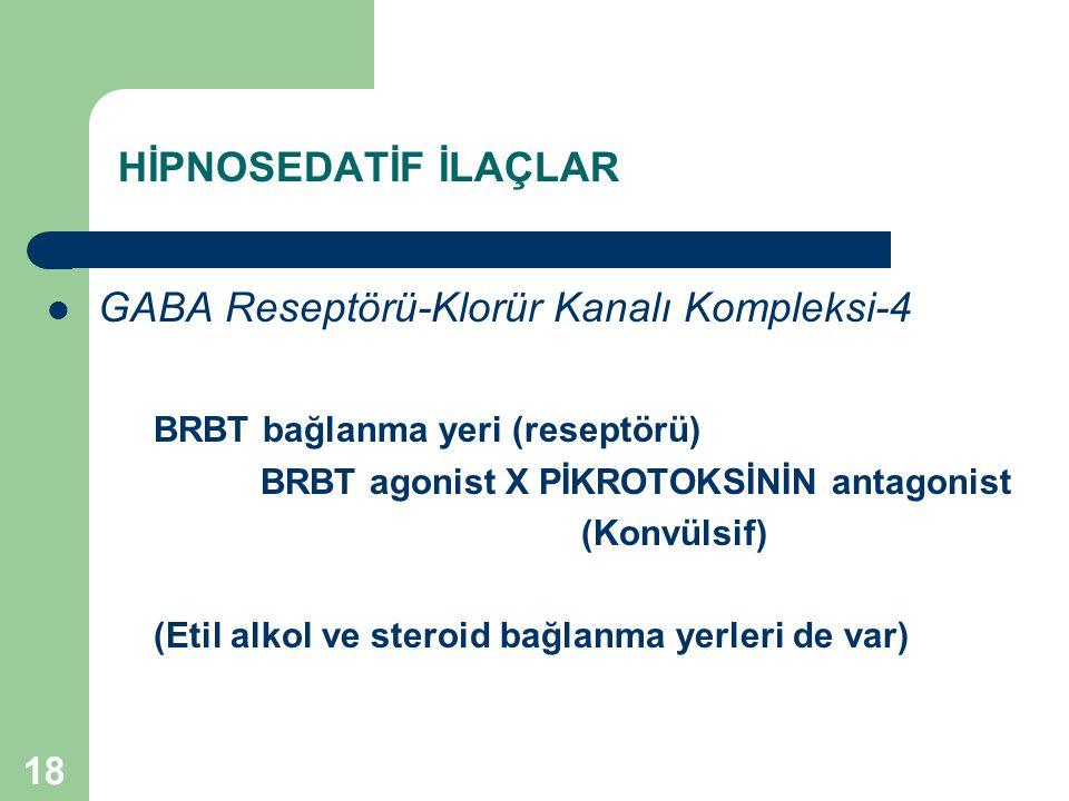 18 HİPNOSEDATİF İLAÇLAR GABA Reseptörü-Klorür Kanalı Kompleksi-4 BRBT bağlanma yeri (reseptörü) BRBT agonist X PİKROTOKSİNİN antagonist (Konvülsif) (E