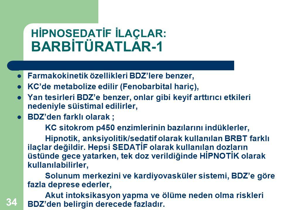 34 HİPNOSEDATİF İLAÇLAR: BARBİTÜRATLAR-1 Farmakokinetik özellikleri BDZ'lere benzer, KC'de metabolize edilir (Fenobarbital hariç), Yan tesirleri BDZ'e
