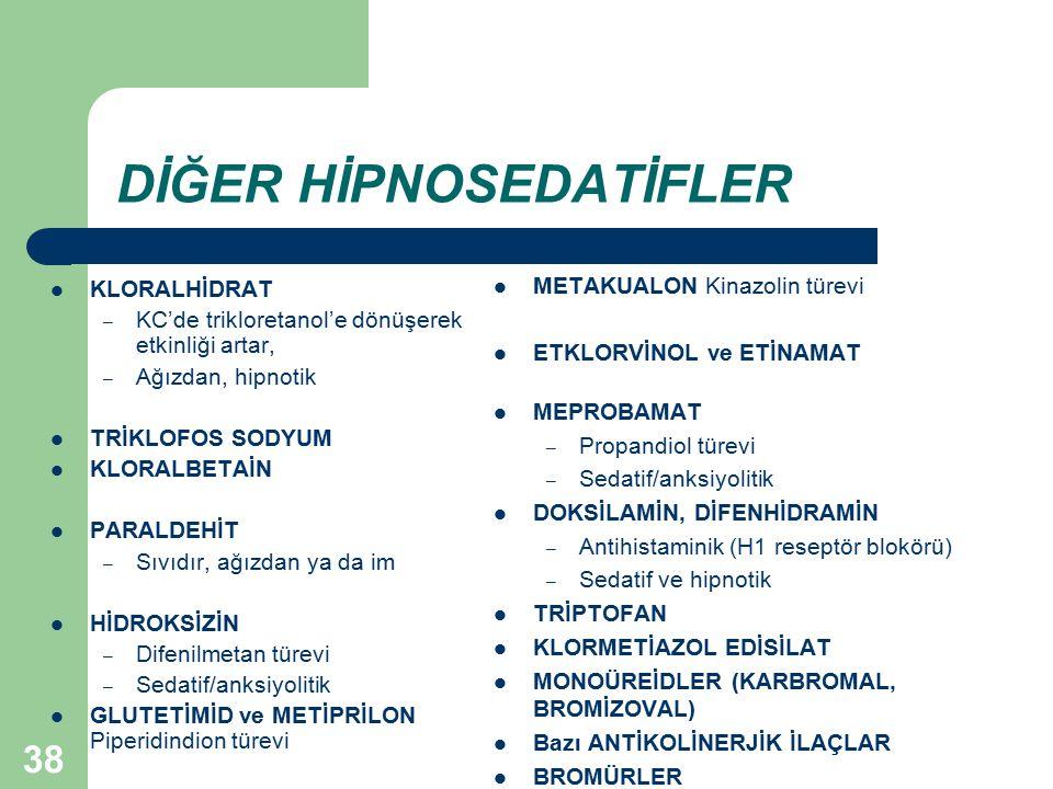 38 DİĞER HİPNOSEDATİFLER KLORALHİDRAT – KC'de trikloretanol'e dönüşerek etkinliği artar, – Ağızdan, hipnotik TRİKLOFOS SODYUM KLORALBETAİN PARALDEHİT