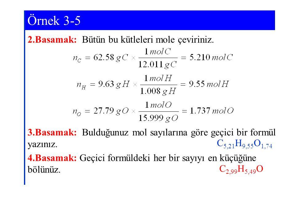 2.Basamak: Bütün bu kütleleri mole çeviriniz. 3.Basamak: Bulduğunuz mol sayılarına göre geçici bir formül yazınız. 4.Basamak: Geçici formüldeki her bi