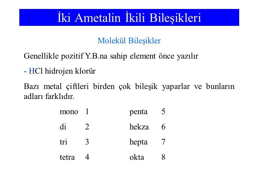 İki Ametalin İkili Bileşikleri mono1penta5 di2hekza6 tri3hepta7 tetra4okta8 Molekül Bileşikler Genellikle pozitif Y.B.na sahip element önce yazılır -