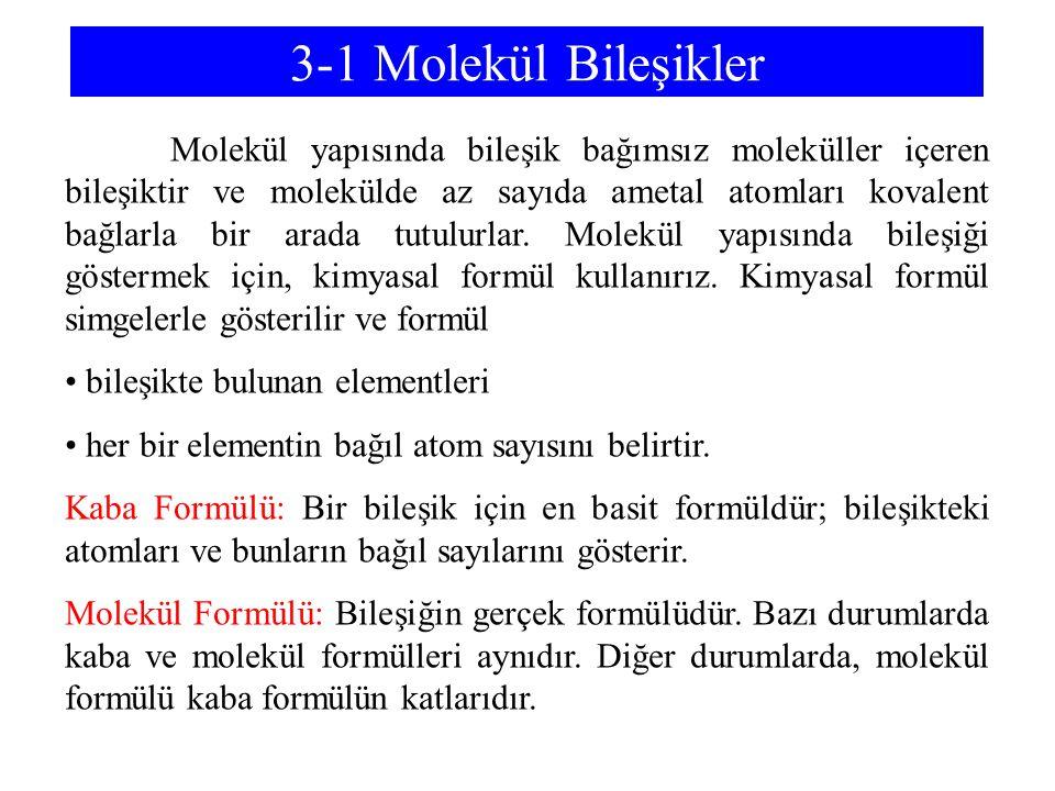 3-1 Molekül Bileşikler Molekül yapısında bileşik bağımsız moleküller içeren bileşiktir ve molekülde az sayıda ametal atomları kovalent bağlarla bir ar