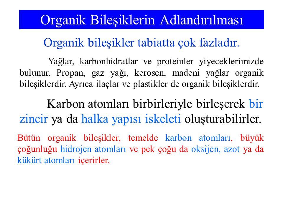 Organik Bileşiklerin Adlandırılması Organik bileşikler tabiatta çok fazladır. Yağlar, karbonhidratlar ve proteinler yiyeceklerimizde bulunur. Propan,