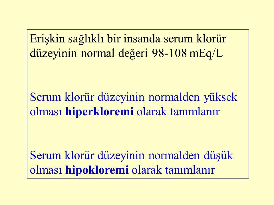Erişkin sağlıklı bir insanda serum klorür düzeyinin normal değeri 98-108 mEq/L Serum klorür düzeyinin normalden yüksek olması hiperkloremi olarak tanı