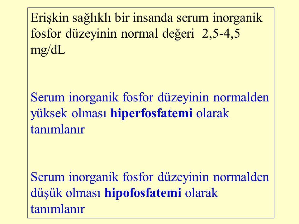 Erişkin sağlıklı bir insanda serum inorganik fosfor düzeyinin normal değeri 2,5-4,5 mg/dL Serum inorganik fosfor düzeyinin normalden yüksek olması hip