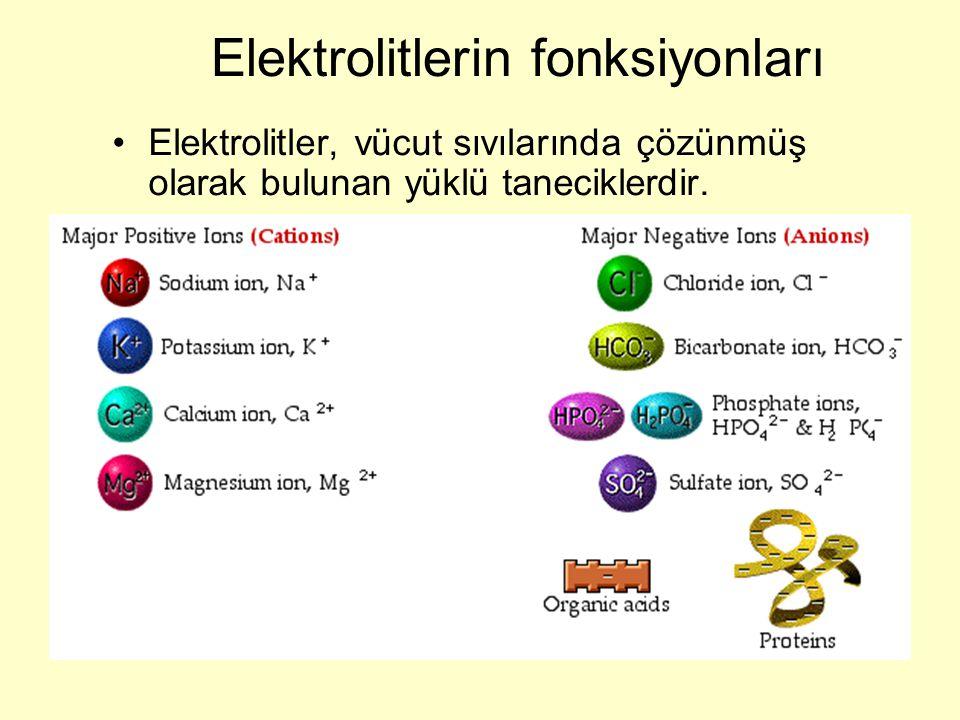 Elektrolitlerin fonksiyonları Elektrolitler, vücut sıvılarında çözünmüş olarak bulunan yüklü taneciklerdir.