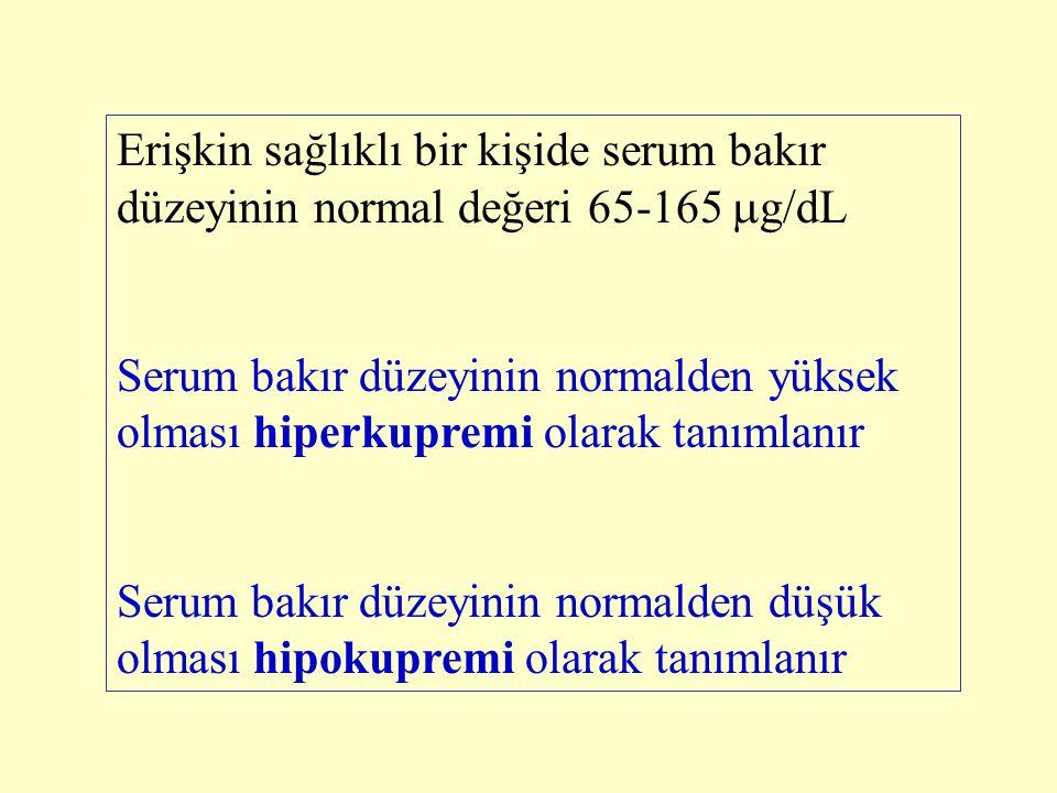 Erişkin sağlıklı bir kişide serum bakır düzeyinin normal değeri 65-165  g/dL Serum bakır düzeyinin normalden yüksek olması hiperkupremi olarak tanıml