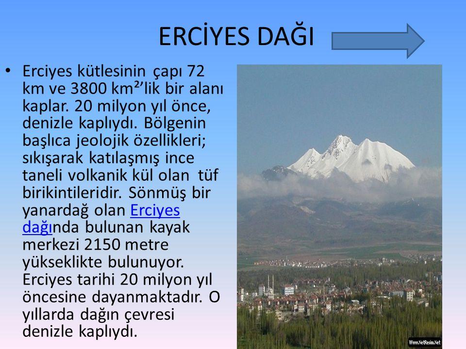 ERCİYES DAĞI Erciyes kütlesinin çapı 72 km ve 3800 km²'lik bir alanı kaplar. 20 milyon yıl önce, denizle kaplıydı. Bölgenin başlıca jeolojik özellikle