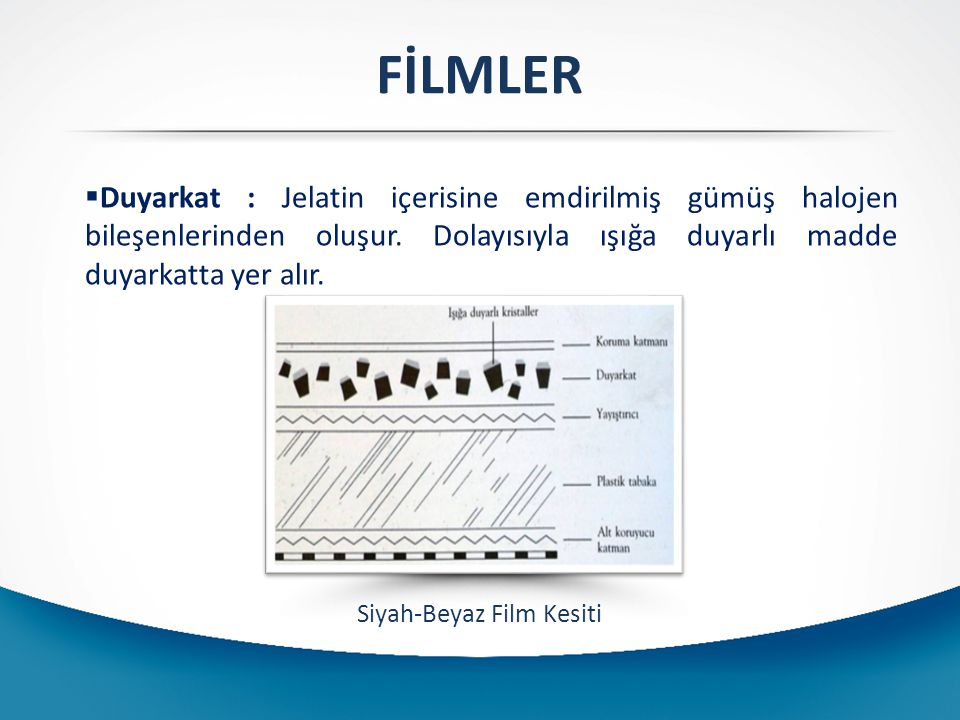 B-) Siyah Beyaz (Silver Jelatin)Filmler: Bu filmlerden elde edilen görüntülerdeki bütün renkler siyah-beyaz ve ara tonlardaki grilerden oluşur.
