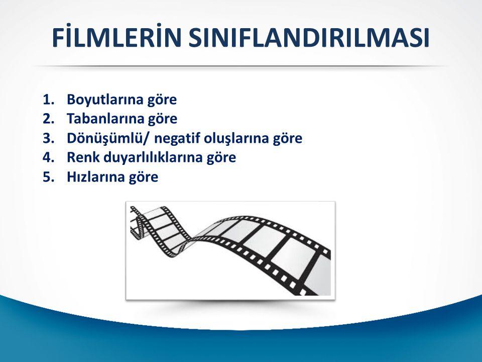 FİLMLERİN SINIFLANDIRILMASI 1-)Boyutlarına göre : Film boyutunun büyüklüğüyle, elde edilecek olan görüntünün kalitesinin doğru orantılı olması, filmlerin farklı boyutlarda üretilmesine yol açmıştır.